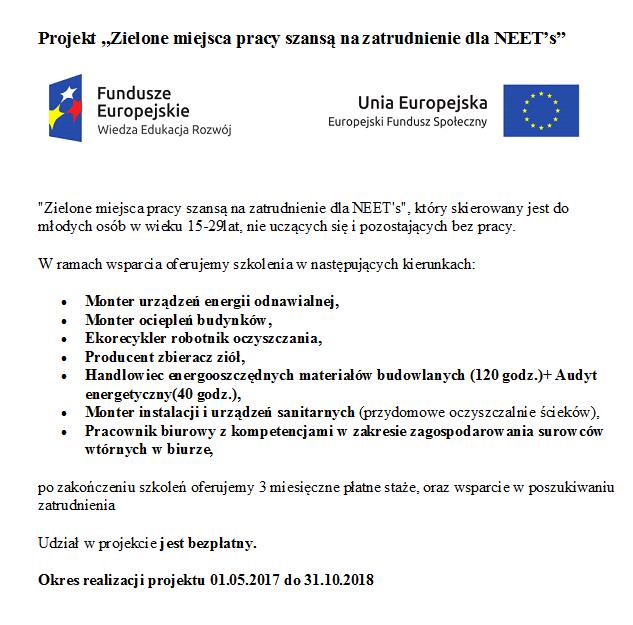 http://e-p-e.pl/aktualnosci/projekt-zielone-miejsca-pracy-szansa-na-zatrudnienie-dla-neets,10781